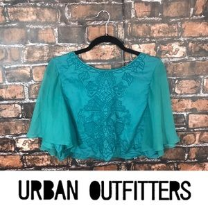 Urban Outfitters Kimchi Blue Flowy Teal Crop Top